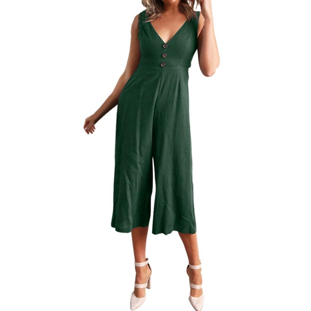 7aab054af1ca Amazon.com  Makaor Fashion Womens V Neck Jumpsuit Summer Short ...