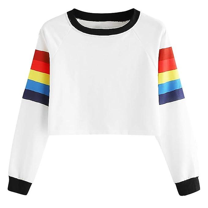 653e384a30df6 Tops Blancas Camisas Vestidos Mujer Camiseta bluson Chica Otoño Invierno  Moda Mujer Manga Larga Colorida impresión del Arco Iris Tops O-Cuello  Sudadera ...
