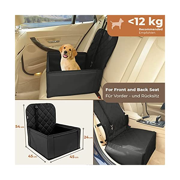51Sb7MsY4pS Extra Stabiler Hunde Autositz - Hochwertiger Auto Hundesitz für kleine bis mittlere Hunde - Verstärkte Wände und 3 Gurte…