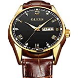 Mens Watch with Date and Day,Luxury Watches for Men Leather Band,Mens Fashion Dress Analog Quartz Watch with Brown Leather,Mens Rose Gold Watches Clearance,Male Business Classic Wrist Watch