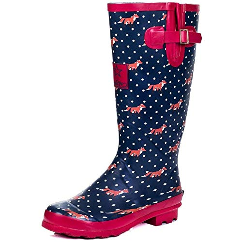 - Onlineshoe Women's Funky Flat Wellie Wellington Festival Rain Boots - Assorted Colours UK7 - EU40 - US9 - AU8 Fox