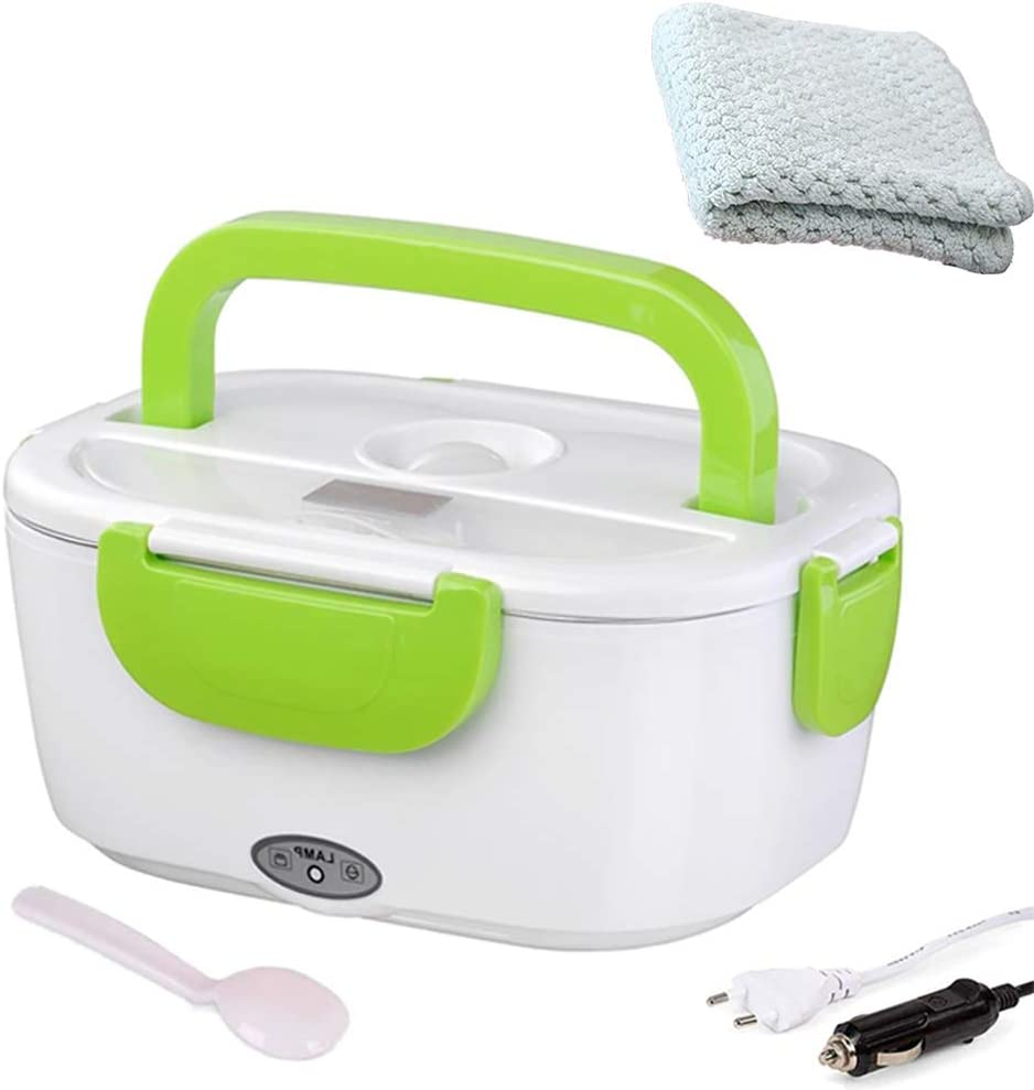 Nifogo Electric Lunch Box Portable 2 in 1 Food Containers Warmer for Home and Car Use, Stainless Steel Food Heater, with Spoon (Green)