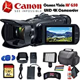 Canon Vixia HF G50 UHD 4K Camcorder (Black) (3667C002) with Padded Case, LED Light, 64GB Memory Card and More Base Bundle