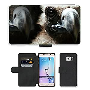 Hot Style Cell Phone Card Slot PU Leather Wallet Case // M00112602 Vulture Birds Animals Nature Bill // Samsung Galaxy S6 (Not Fits S6 EDGE)