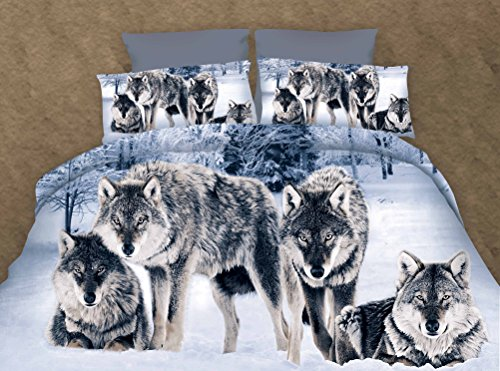 Cliab Wolf Bedding Full Size for Girls Sheets Duvet Cover Set 7 Pieces(Fitted Sheet Included)