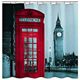 Coca Cola Shower Curtain WoneNice Fabric Shower Curtain with Big Ben Design,72x72 Inches Shower Curtain