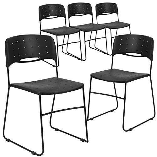 Sled Base Stack Chair - Flash Furniture 5 Pk. HERCULES Series 771 lb. Capacity Black Sled Base Stack Chair with Air-Vent Seat