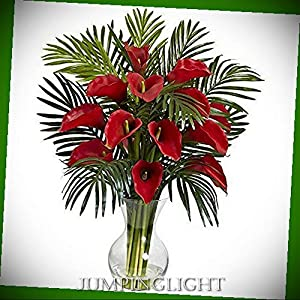 JumpingLight Calla Lily & Areca Palm Silk Flower Arrangement Artificial Flowers Wedding Party Centerpieces Arrangements Bouquets Supplies 12