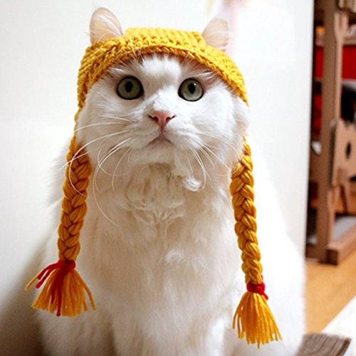 Pet Hat - Cat Yellow Yarn Hat With Girl Braids Handmade Autumn Winter Warm Cute Cap Apparel Christmas Gift for Pet,Small / Medium (Cat And Ball Of Yarn Costume)