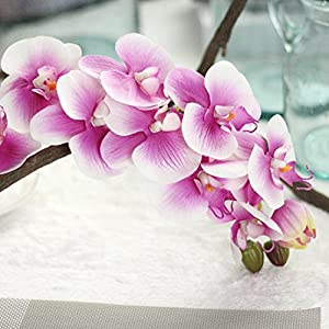 Vibola® Simulation Butterfly Orchid Phalaenopsis Branch Home Garden DIY Decor Houseplant Real Touch Flower Silk Artificial Flowers for Wedding Decoration Supplies Fake Flowers 88