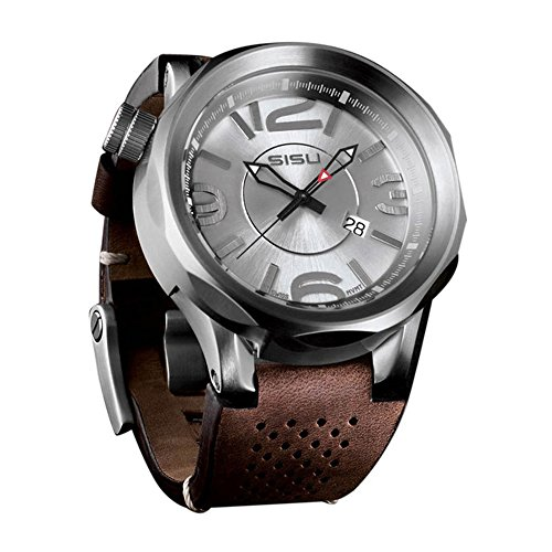 SISU Guardian Q1 Quartz Men's Watch, Brushed Silver Dial, Leather Strap (Model: GQ1-50-LT)