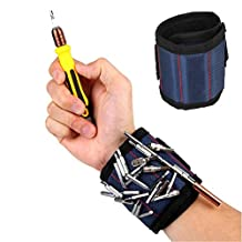 Wrist Band Tool Magnetic Wristband with 3 Powerful Magnets Wrist Arm Strap Holding Drill Bits, Nails, Screws, Bolts, Screwdriver Bits, Small Metal Tools(Blue)