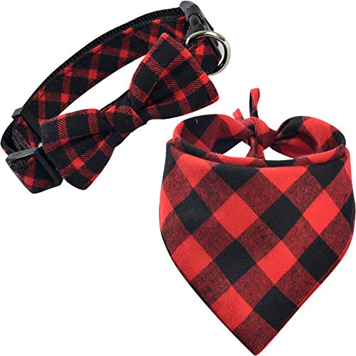 KZHAREEN Dog Bandana and Collar Set Plaid Scarf Triangle Bibs Kerchief Collar with Cute Bow Tie -