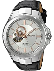 Seiko Mens Japanese Automatic Stainless Steel and Leather Casual Watch, Color:Black (Model: SSA313)