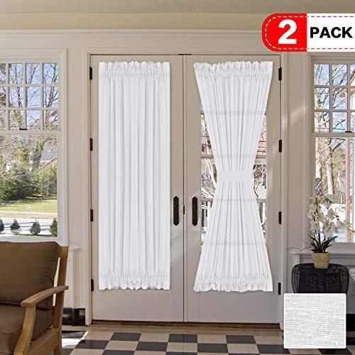 H.VERSAILTEX Natural Linen Blended French Door Curtain Rich Linen Light Filtering Semi Sheer Curtains, Rod Pocket Door Panel, Set of 2, 52 x 72 Inch, White
