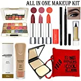 volo All In One Professional Women's Makeup Kit (3 Pcs Lipsticks,1 Eye Shadow, 1 Foundation,1 Eyeliner, 1 Compact, 1 Kajal, 1 Pouch) Set of 9 Pcs (orange)