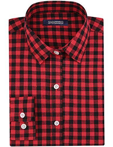 DOKKIA Women's Tops Feminine Long Sleeve Plaid Button Down Work Dress Blouses Shirt (Medium, Red Black Buffalo)