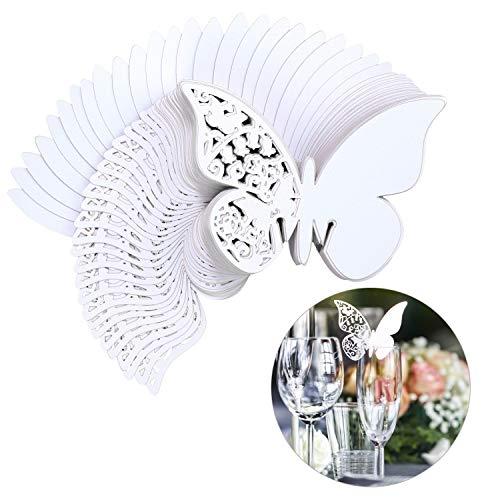 QH-Shop Tarjeta de Copa Mariposa 100 Piezas 3D Hollow Mariposa Nombre Lugar para Boda Invitaciones Regalo Detalle de Boda Cumpleano Communion Blanco