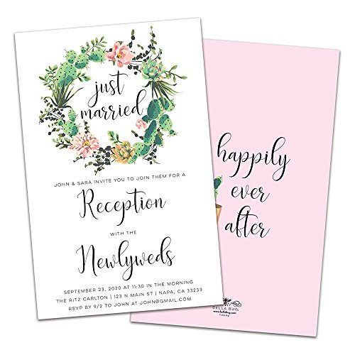 Wedding Belle Invitations - Cactus Wreath Personalized Wedding Reception Invitations