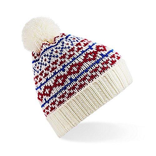 Snowstar Rojo de Blanco con Nordic borla Gorro royal Modelo beanie Unisex invierno Beechfield Azul 8aTqwPF