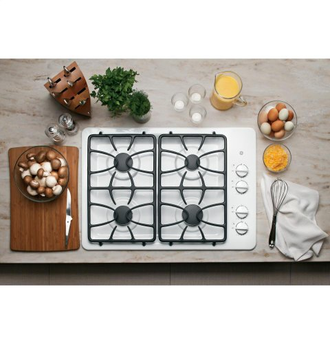 GE 30-Inch 4 Sealed Burner Built-In Gas Cooktop, White
