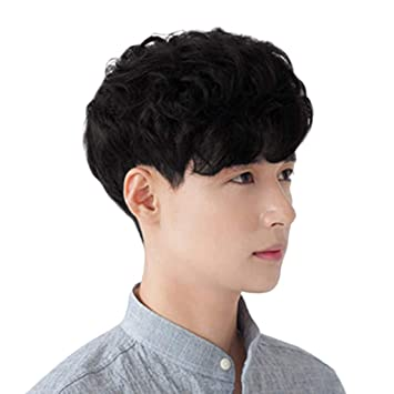 Clearance Bob Wig For Men Short Curly Wavy Full Wig Synthetic Fiber