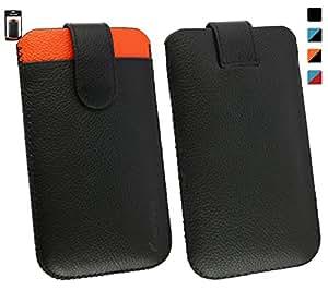 Emartbuy InFocus M330 Genuine Calfskin Negro/Naranja Leather Funda Carcasa Case Tipo Bolsa (Size LM4) con Ranura Tarjeta Crédito y Tire Mecanismo Tab
