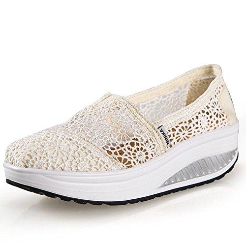 Sneakers Moda Donna Btrada Scivolano Su Scarpe Casual Da Viaggio Morbide E Confortevoli Di Colore Bianco