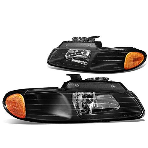 Dodge Caravan/Voyager Pair of Black Housing Amber Corner Headlights (Headlight Voyager Housing)
