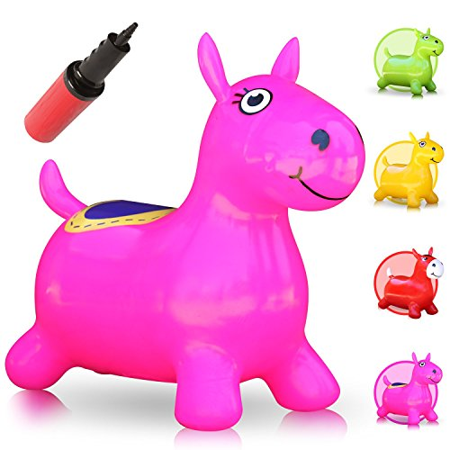 Waliki Hopping Horse Hopper  Johnny The Bouncy Horse  Ridding Horse For Kids  Pump Included Pink