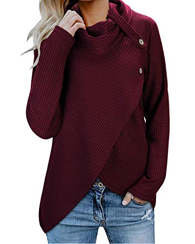 KILIG Womens Long Sleeve Button Cowl Neck Casual Knitted Wrap Pullover Lightweight Sweaters Shirt(Wine,M) (Wine Sweater)