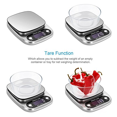 XDFEWFJH Food Scale Kitchen Scale 22lb Weight Grams for Cooking Baking,Silver