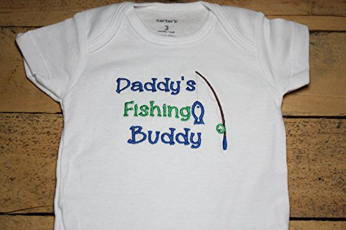 Daddy's Fishing Buddy Embroidered Bodysuit Customized Personalized Camo Hunting Father Grandpa Bodysuit by Seaux Sweet Embroidery