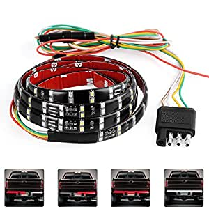 """LED Tailgate Light Bar Strip, YITAMOTOR 60"""" Double Row Soft Red White Truck Bed Light with Left/Right Turn Signal Light Brake Light and Reverse Light for Truck Pickup SUV Jeep Dodge Ram"""