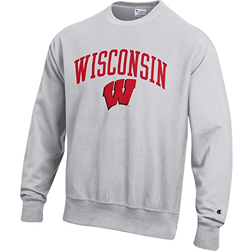 Elite Fan Shop Wisconsin Badgers Reverse Weave Crewneck Sweatshirt Gray - ()