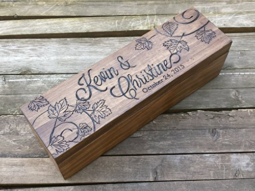 Fall wedding wine box, custom box for wine, personalized wooden wine box