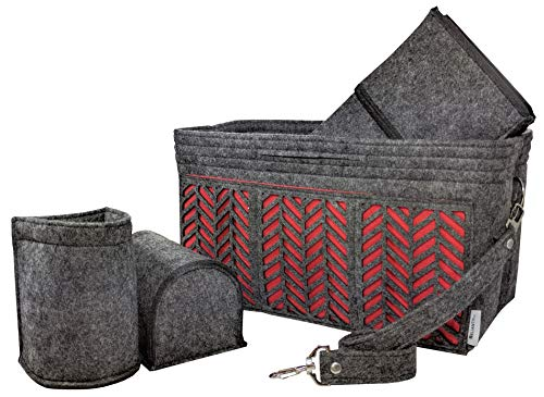 BELIANTO Felt Purse Organizer - Decorative Motifs, Solid Bottom Middle Insert, Key Finder, Gusseted Pockets (More Storage)