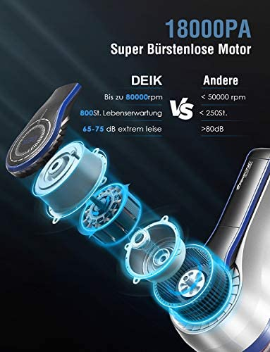 DEIK Aspirateur sans fil avec 18000 Pa Puissance d\'aspiration et batterie au lithium amovible