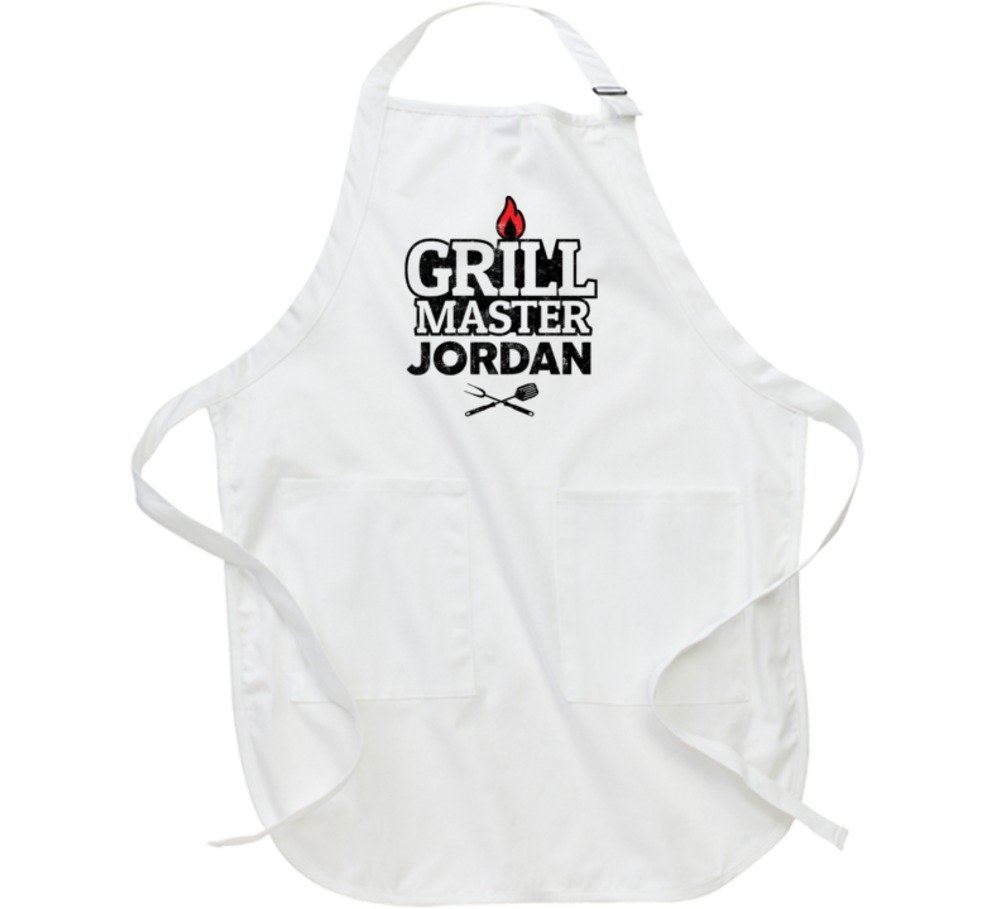 Jordan Grillmaster Custom Dad Male Name BBQ Chef Grilling Apron L White