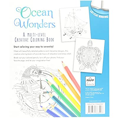 Ocean Wonders A Multi Level Adult Creative Coloring Book with Lay Flat Binding: Toys & Games