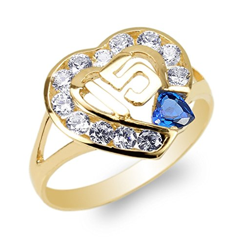 JamesJenny Ladies 10K Yellow Gold 15 Anos Quinceanera Blue CZ Heart Ring Size 6 by JamesJenny (Image #2)