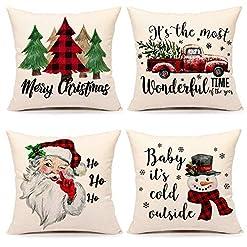 Christmas Farmhouse Home Decor Christmas Pillow Covers 18×18 Set of 4 Farmhouse Christmas Decor Red Black Buffalo Plaids Winter Holiday Decorations… farmhouse christmas pillow covers