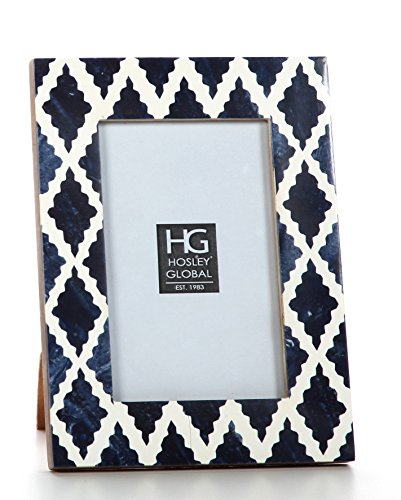 Hosley Indigo Geo Resin Tabletop Picture Frame, 4x6. Ideal Gift for Home, Wedding, Party. Home Office, Spa P2 by Hosley (Image #2)