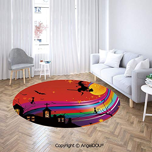 AngelDOU Soft Durable Round Children Carpet Play Mat Witch Woman on Broomstick Bats Cat Stars Rainbow Moon Castle Abstract Colorful Decorative Baby Crawling Blanket Area Rug.]()