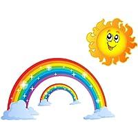 Amosfun Rainbow Wall Sticker with Sun Clouds Colorful Rainbow Wall Decal for Bedroom Classroom Nursery Home Decoration