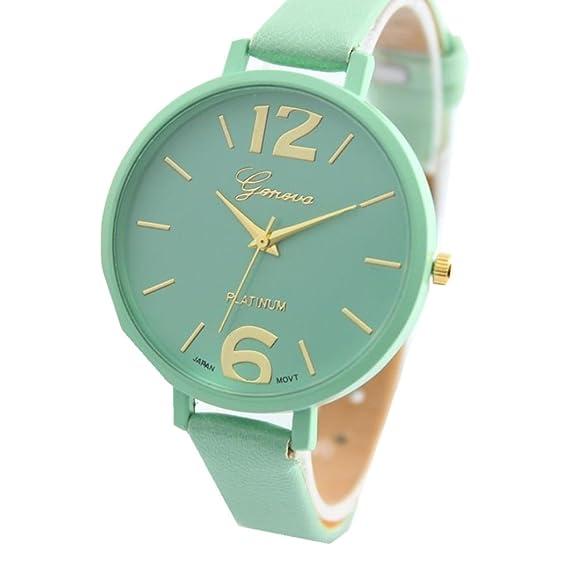 Los amantes de los reloj, ikevan ginebra mujeres piel sintética analógico reloj de pulsera de cuarzo resistente al agua con banda de piel: Amazon.es: ...
