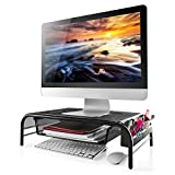 Monitor Stand Riser, Mesh Metal Printer Stand Holder with Pull Out Storage Drawer and Side Compartments Pockets for Computer, Laptop, iMac, Desk, Pens, Phones, Calculators by HUANUO