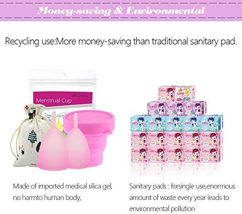 SPEQUIX Juego de 2 vasos menstruales (tamaño grande y pequeño) y 1 taza esterilizadora y 3 protectores desechables de látex para dedos (rosa)