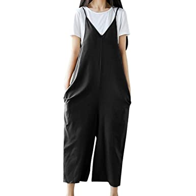 7b9ced2d0070b Maheegu Women Casual Solid Straps Wide Leg Pants Dungarees Pockets Loose  Bib Cotton Linen Jumpsuits Trousers Rompers: Amazon.co.uk: Clothing