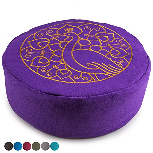 Peace Yoga Zafu Meditation Yoga Buckwheat Filled Cotton Bolster Pillow Cushion with Premium Designs - Choose Your Design & Size